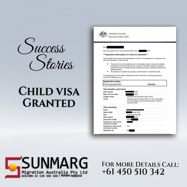 Child Visa Granted | Sunmarg Migrations Australia Pty Limited | Success Stories