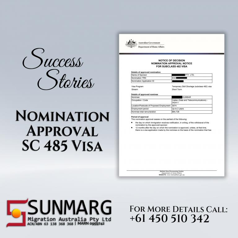 Nomination Approved for SC 485 Visa | Sunmarg Migrations Australia Pty. Ltd.
