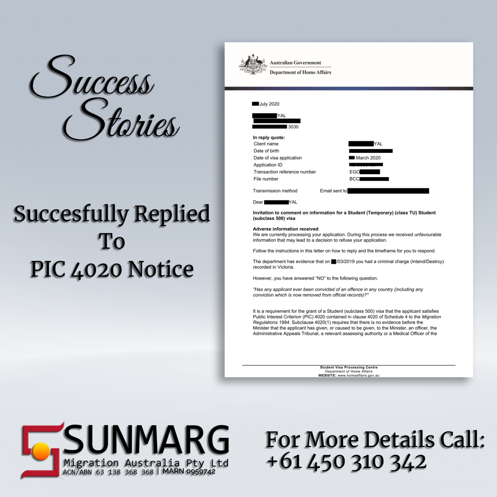 PIC 4020 Notice | Sunmarg Migration Australia