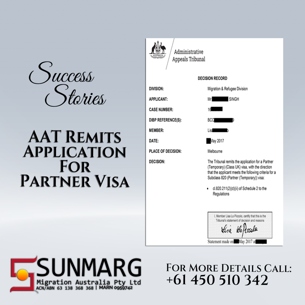 Partner Visa Application Remitted by AAT | Client is now a PR in Australia | Success Story by Sunmarg Migration Australia