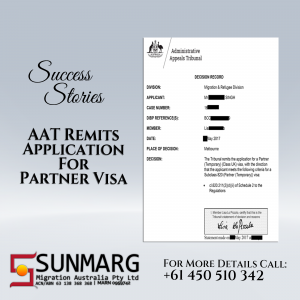 AAT Remitted Partner Visa Application waving Schedule 3 Criteria | Success Story