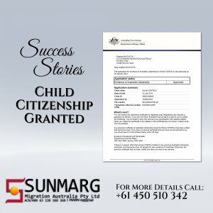 Child Citizenship Awarded after being outside Australia for near to 3 Years